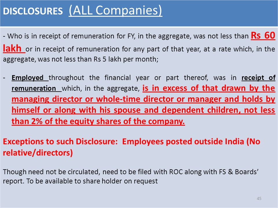 DISCLOSURES (ALL Companies) - Who is in receipt of remuneration for FY, in the aggregate, was not less than Rs 60 lakh or in receipt of remuneration f