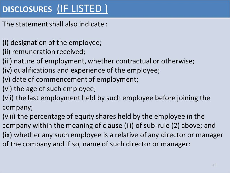 DISCLOSURES (IF LISTED ) The statement shall also indicate : (i) designation of the employee; (ii) remuneration received; (iii) nature of employment,