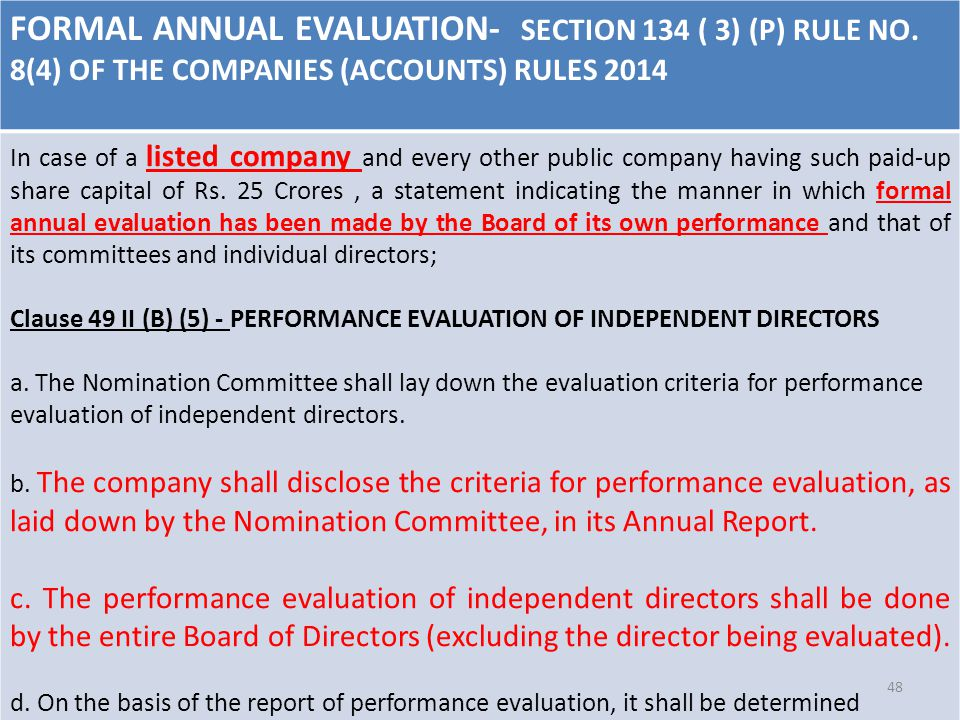 FORMAL ANNUAL EVALUATION- SECTION 134 ( 3) (P) RULE NO.