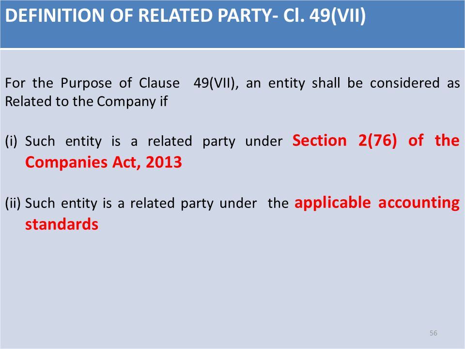 DEFINITION OF RELATED PARTY- Cl. 49(VII) For the Purpose of Clause 49(VII), an entity shall be considered as Related to the Company if (i)Such entity