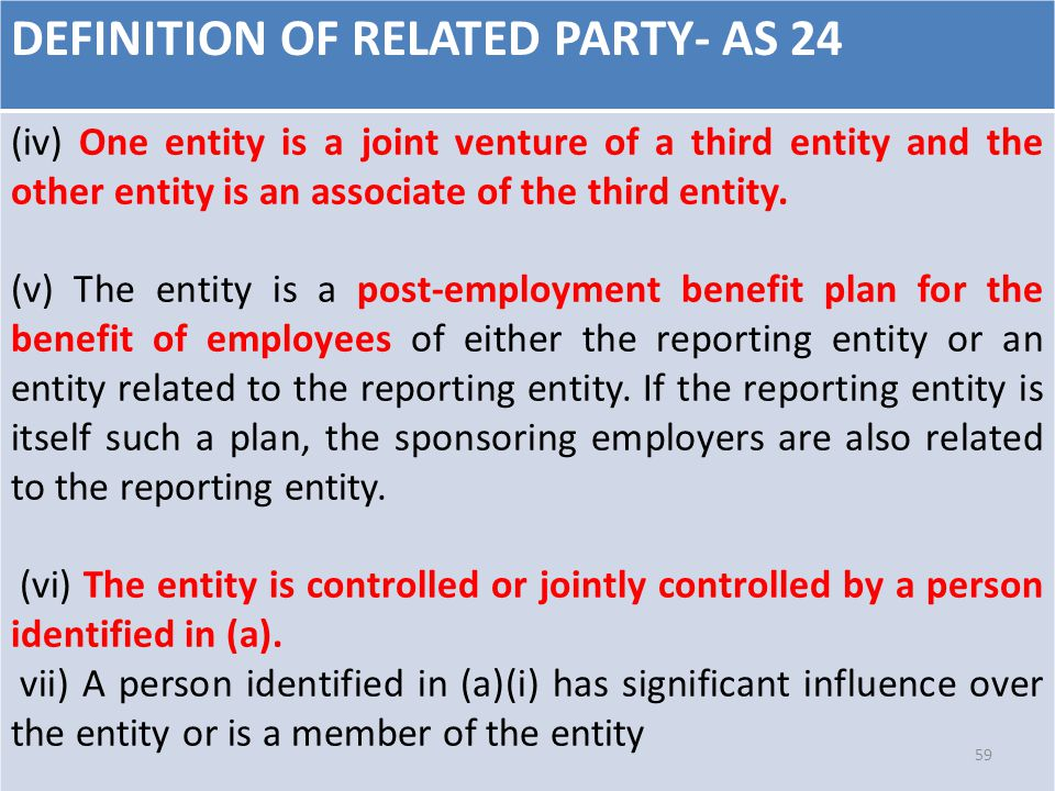 DEFINITION OF RELATED PARTY- AS 24 (iv) One entity is a joint venture of a third entity and the other entity is an associate of the third entity. (v)