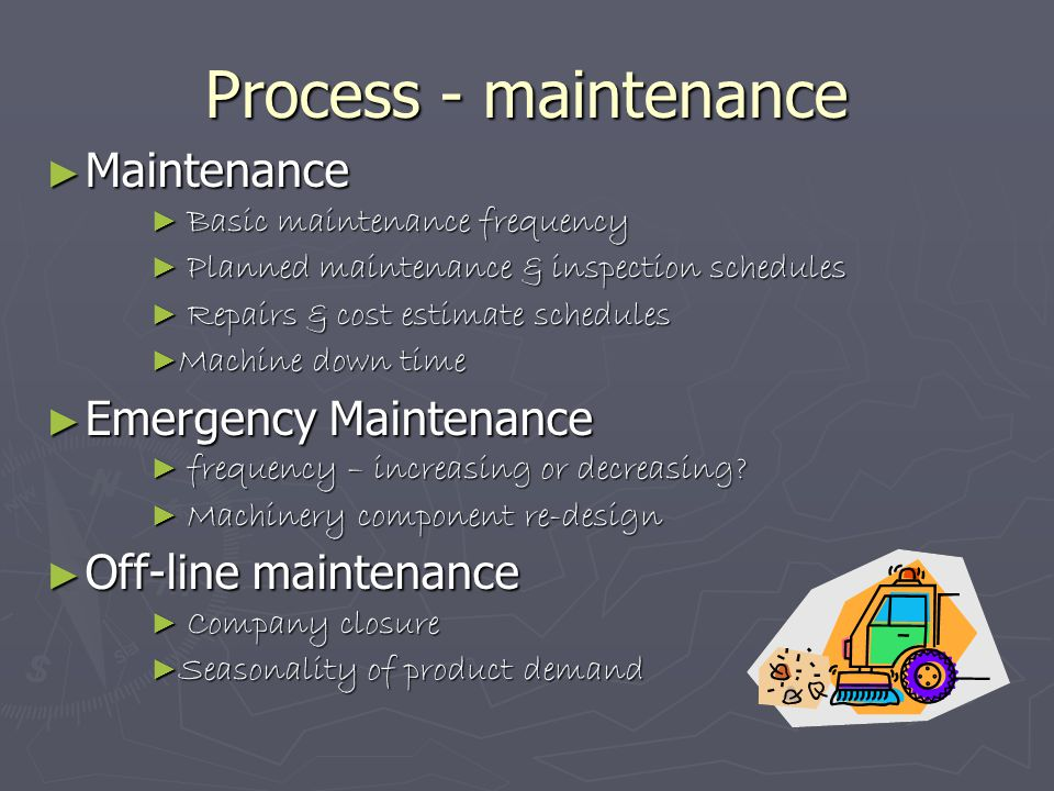 Process - maintenance ► Maintenance ► Basic maintenance frequency ► Planned maintenance & inspection schedules ► Repairs & cost estimate schedules ► M