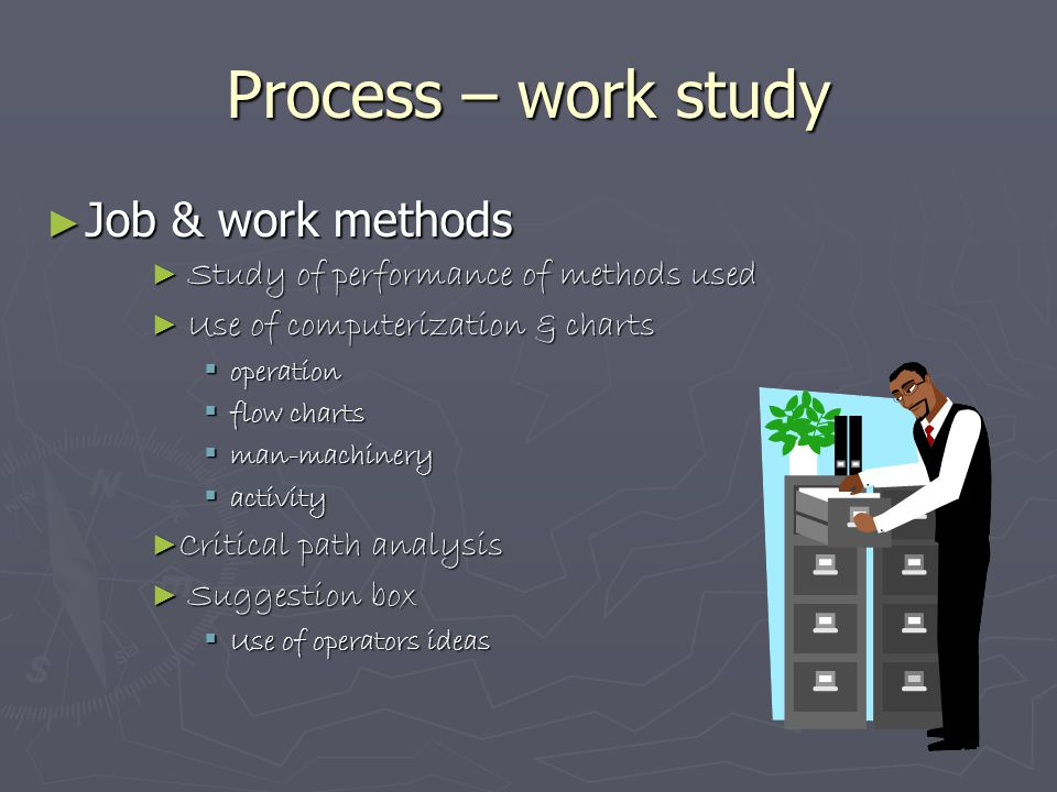 Process – work study ► Job & work methods ► Study of performance of methods used ► Use of computerization & charts  operation  flow charts  man-mac