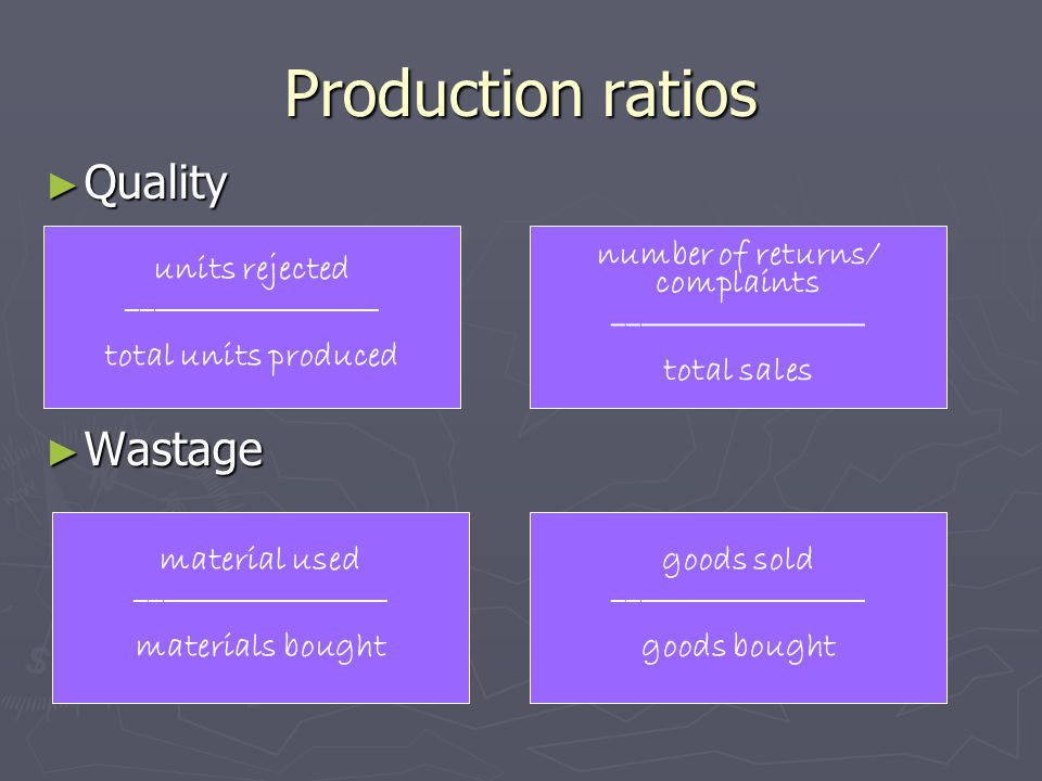 Production ratios ► Quality ► Wastage units rejected __________________ total units produced number of returns/ complaints __________________ total sa