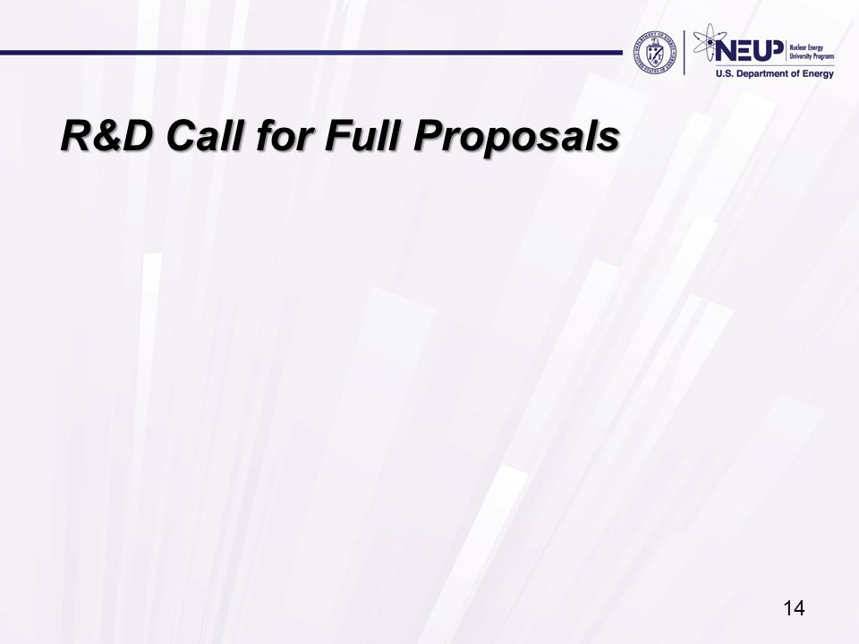 R&D Call for Full Proposals 14