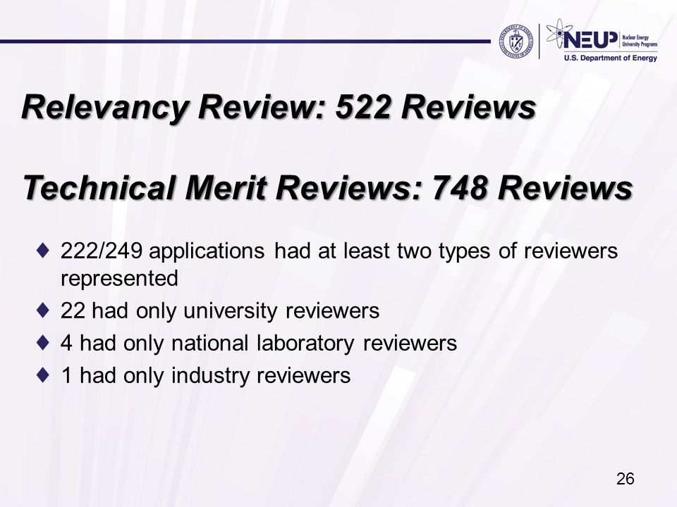 Relevancy Review: 522 Reviews Technical Merit Reviews: 748 Reviews ♦222/249 applications had at least two types of reviewers represented ♦22 had only university reviewers ♦4 had only national laboratory reviewers ♦1 had only industry reviewers 26