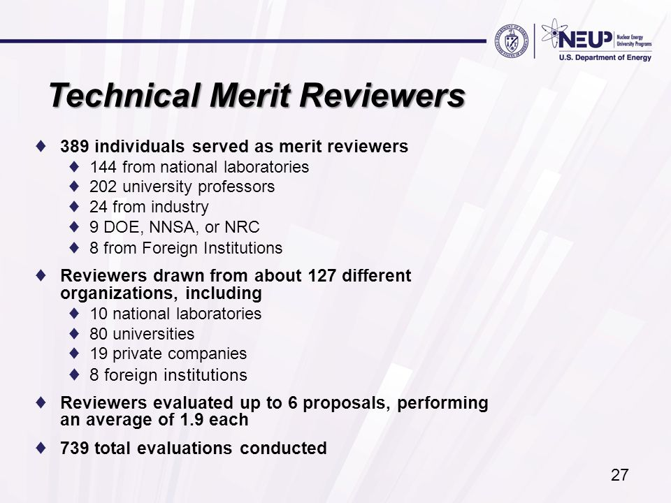 Technical Merit Reviewers ♦389 individuals served as merit reviewers ♦144 from national laboratories ♦202 university professors ♦24 from industry ♦9 D