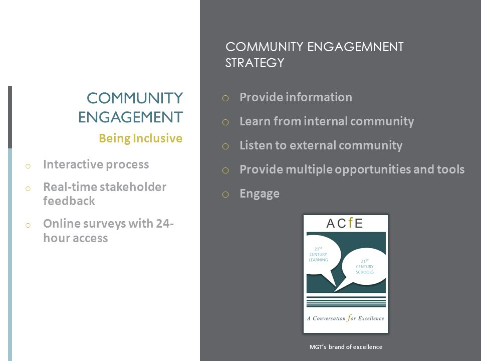 COMMUNITY ENGAGEMNENT STRATEGY Being Inclusive COMMUNITY ENGAGEMENT o Provide information o Learn from internal community o Listen to external communi