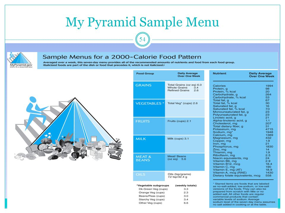 My Pyramid Sample Menu Nutrition Through the Life Cycle-ch1-© 2009 Cengage - Wadsworth 54
