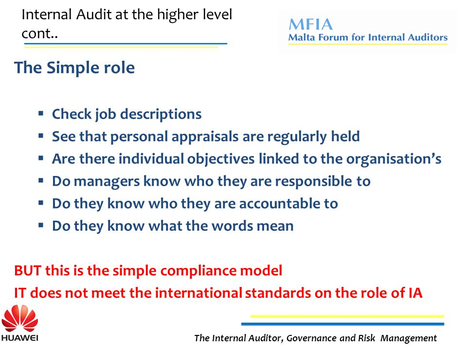 Internal Audit at the higher level cont..
