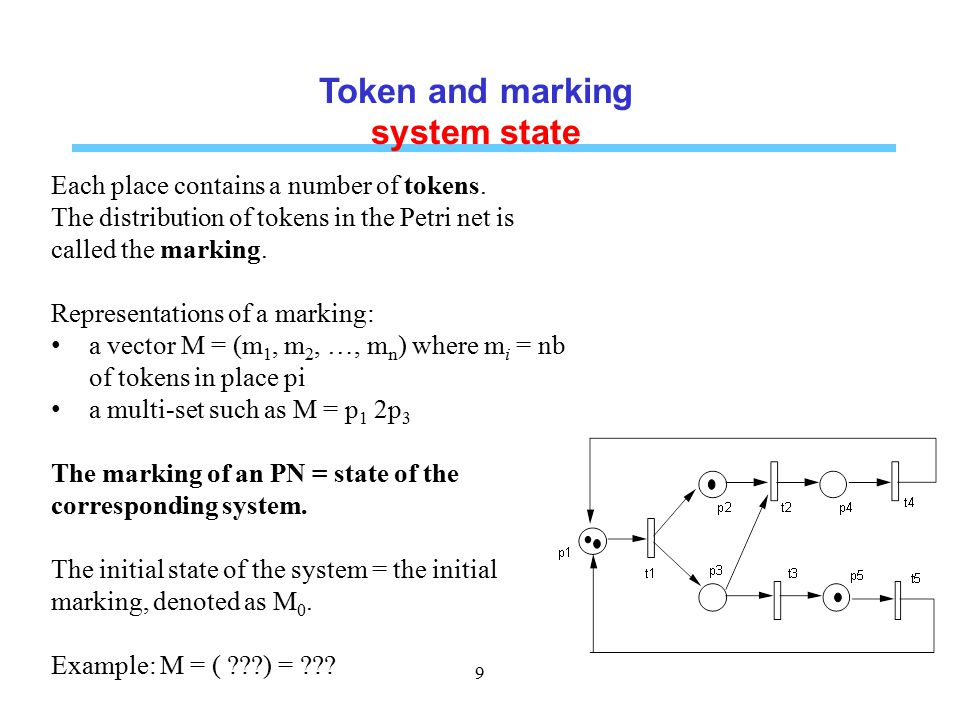 System dynamics by transition firing A transition is said enabled (firable) if each of its input places contains at least one token.