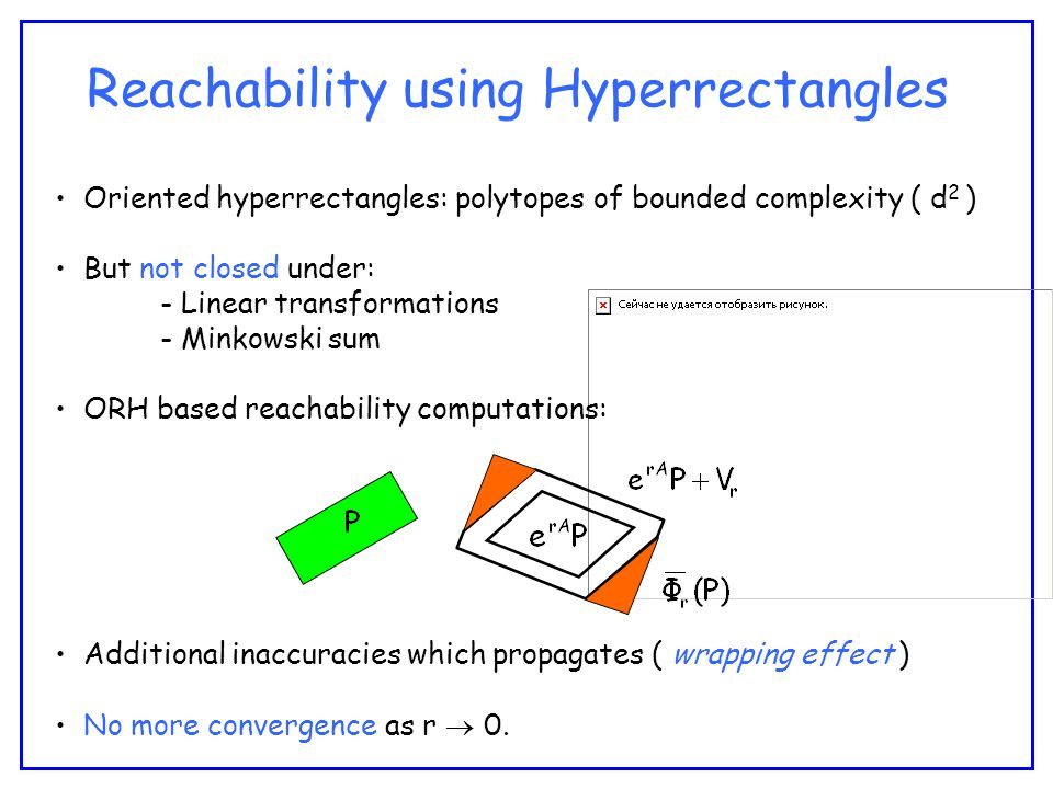 Reachability using Hyperrectangles Oriented hyperrectangles: polytopes of bounded complexity ( d 2 ) But not closed under: - Linear transformations - Minkowski sum ORH based reachability computations: Additional inaccuracies which propagates ( wrapping effect ) No more convergence as r  0.
