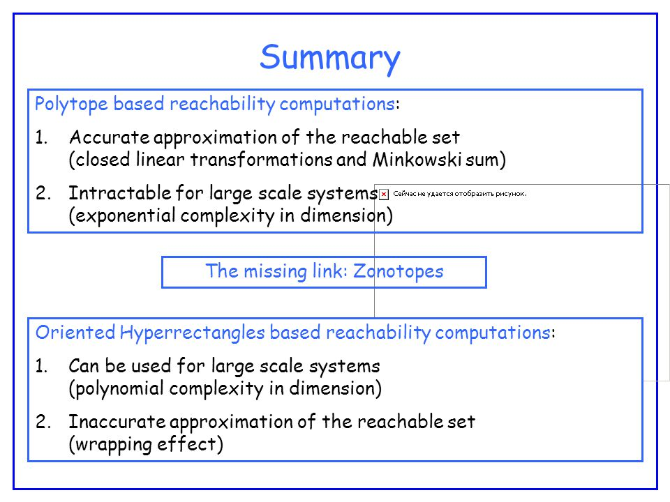 Summary Polytope based reachability computations: 1.Accurate approximation of the reachable set (closed linear transformations and Minkowski sum) 2.Intractable for large scale systems (exponential complexity in dimension) Oriented Hyperrectangles based reachability computations: 1.Can be used for large scale systems (polynomial complexity in dimension) 2.Inaccurate approximation of the reachable set (wrapping effect) The missing link: Zonotopes