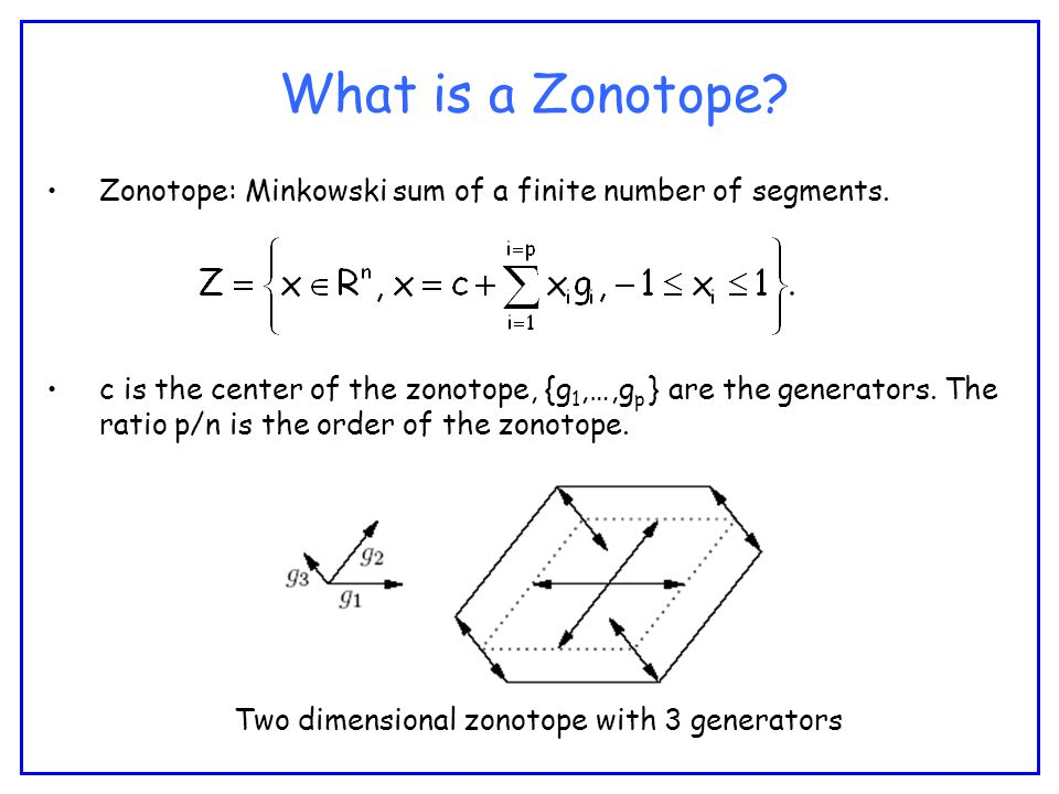 What is a Zonotope. Zonotope: Minkowski sum of a finite number of segments.