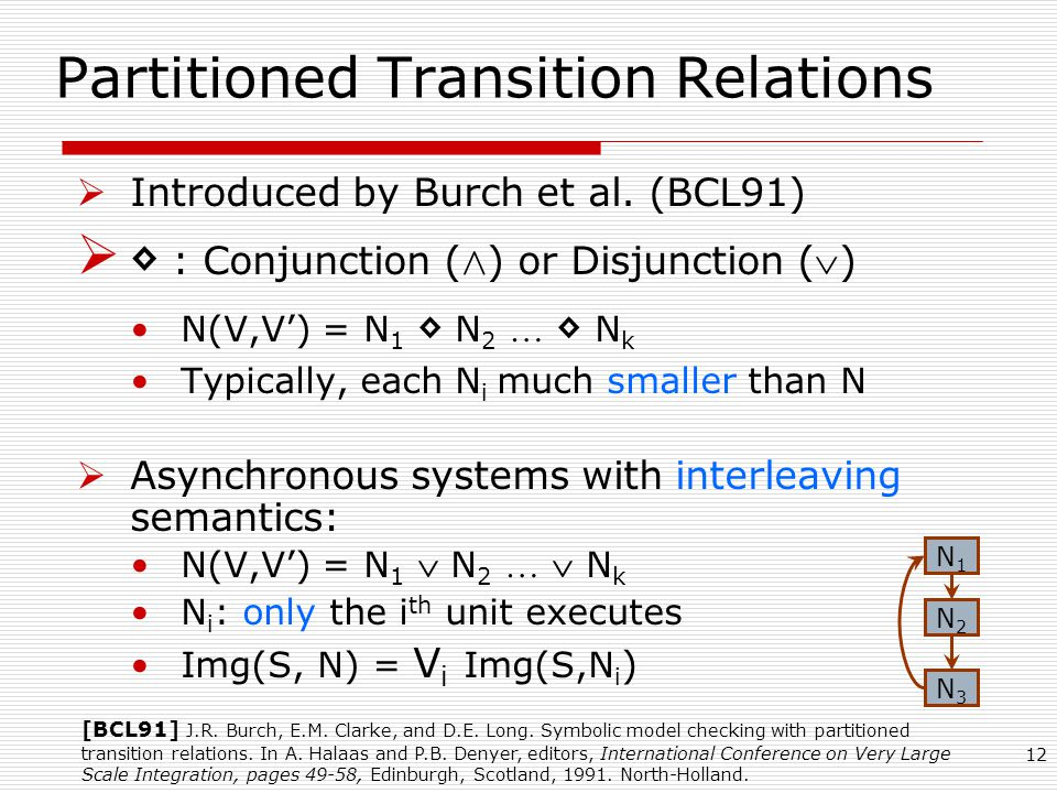 12 Partitioned Transition Relations  Introduced by Burch et al.