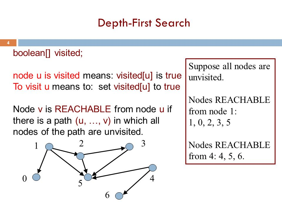 Depth-First Search 5 boolean[] visited; node u is visited means: visited[u] is true To visit u means to: set visited[u] to true Node u is REACHABLE from node v if there is a path (u, …, v) in which all nodes of the path are unvisited.