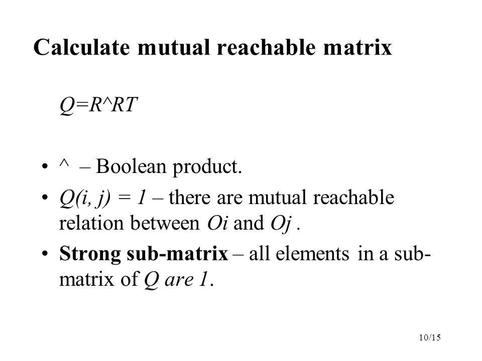 10/15 Calculate mutual reachable matrix Q=R^RT ^ – Boolean product.