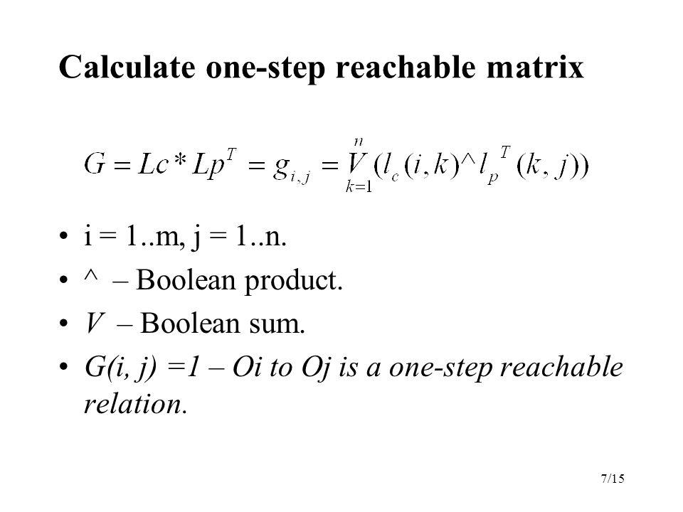 7/15 Calculate one-step reachable matrix i = 1..m, j = 1..n.