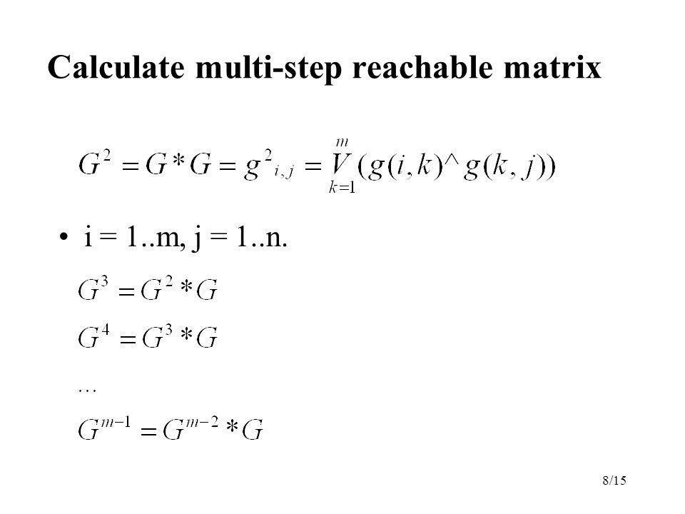 8/15 Calculate multi-step reachable matrix i = 1..m, j = 1..n.