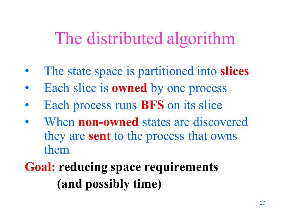 10 The distributed algorithm The state space is partitioned into slices Each slice is owned by one process Each process runs BFS on its slice When non-owned states are discovered they are sent to the process that owns them Goal: reducing space requirements (and possibly time)