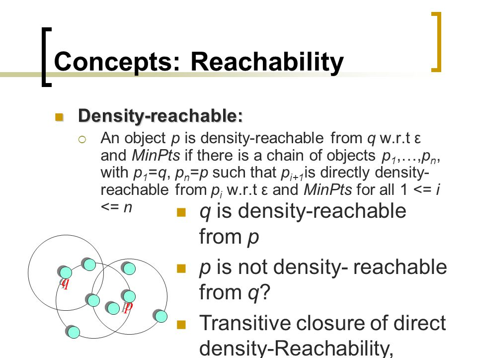 Concepts: Reachability Density-reachable: Density-reachable:  An object p is density-reachable from q w.r.t ε and MinPts if there is a chain of objec