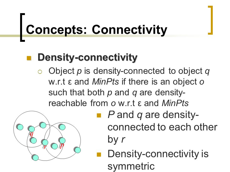 Concepts: Connectivity Density-connectivity Density-connectivity  Object p is density-connected to object q w.r.t ε and MinPts if there is an object o such that both p and q are density- reachable from o w.r.t ε and MinPts p p q q r r P and q are density- connected to each other by r Density-connectivity is symmetric
