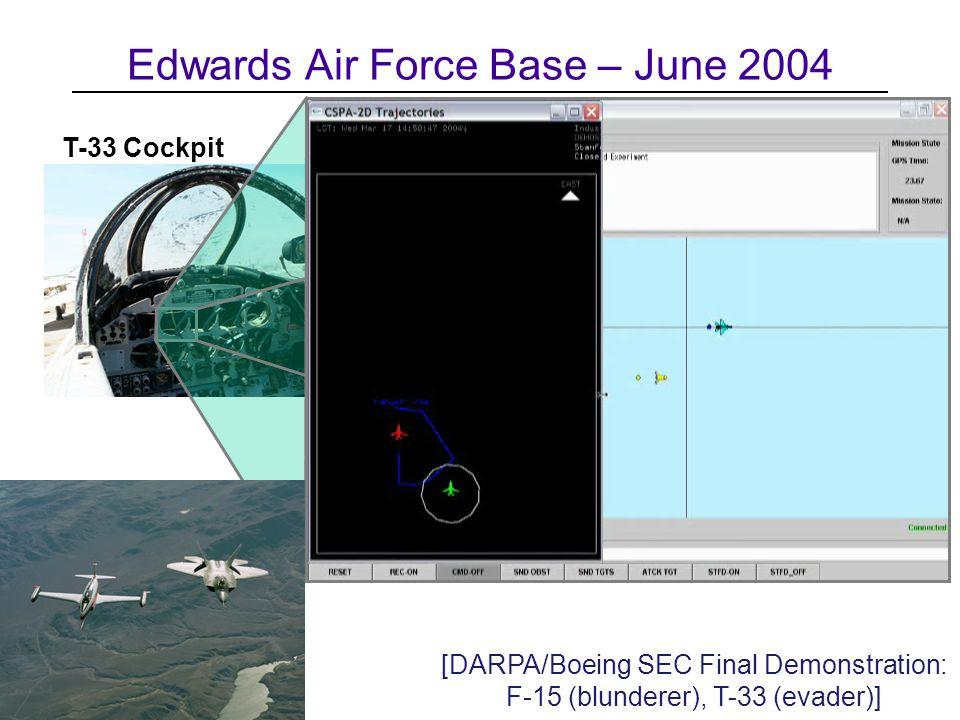 Edwards Air Force Base – June 2004 T-33 Cockpit [DARPA/Boeing SEC Final Demonstration: F-15 (blunderer), T-33 (evader)]