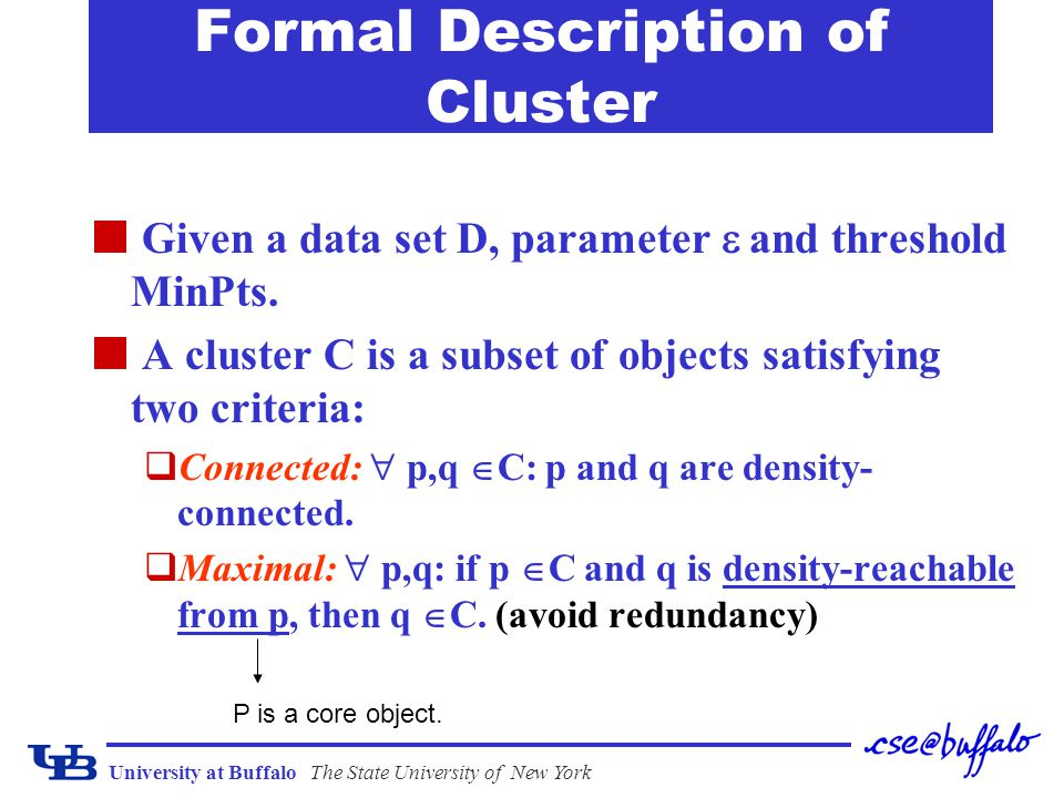 University at BuffaloThe State University of New York Formal Description of Cluster Given a data set D, parameter  and threshold MinPts. A cluster C