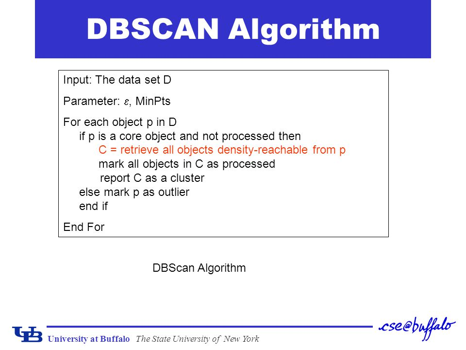 University at BuffaloThe State University of New York DBSCAN Algorithm Input: The data set D Parameter: , MinPts For each object p in D if p is a cor