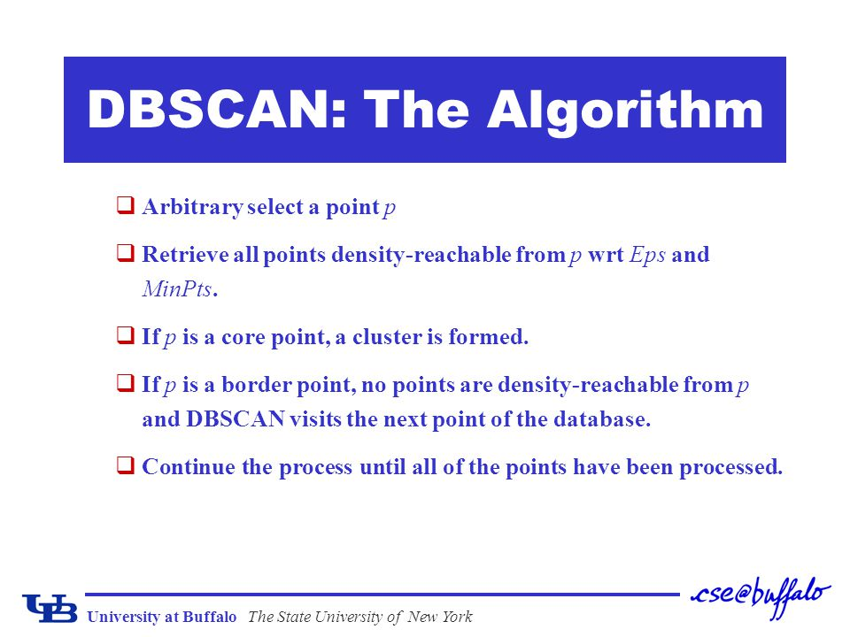 University at BuffaloThe State University of New York DBSCAN: The Algorithm qArbitrary select a point p qRetrieve all points density-reachable from p
