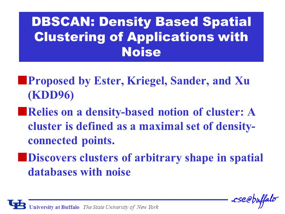 University at BuffaloThe State University of New York DBSCAN: Density Based Spatial Clustering of Applications with Noise Proposed by Ester, Kriegel,