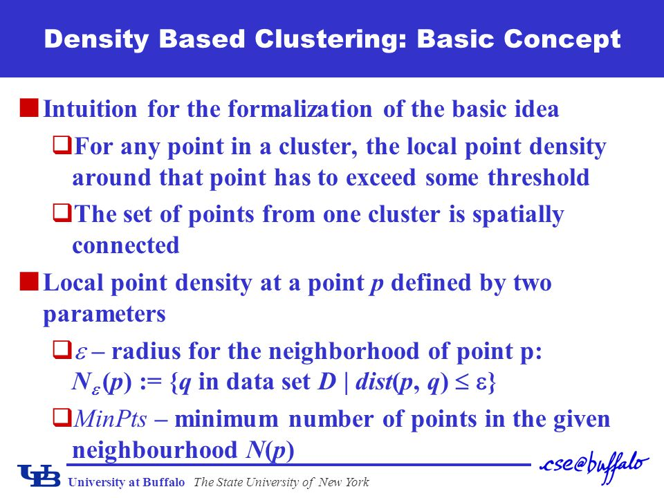 University at BuffaloThe State University of New York Density Based Clustering: Basic Concept Intuition for the formalization of the basic idea qFor a