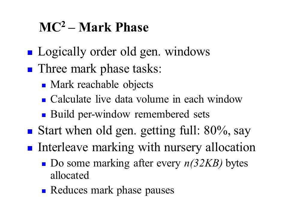 MC 2 – Mark Phase Logically order old gen.
