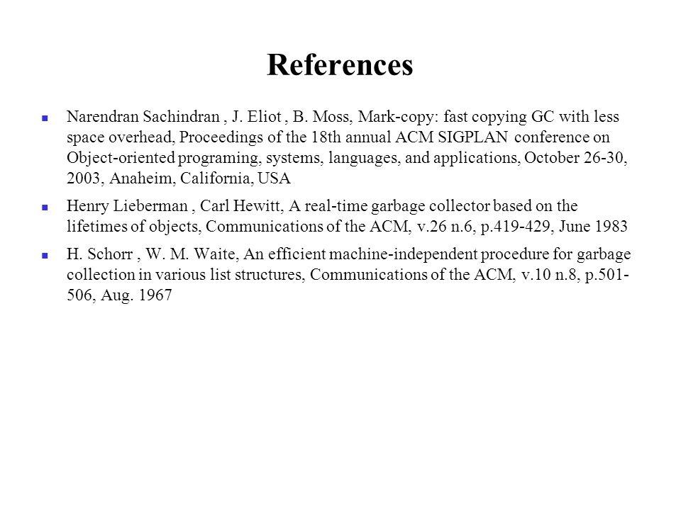 References Narendran Sachindran, J. Eliot, B.