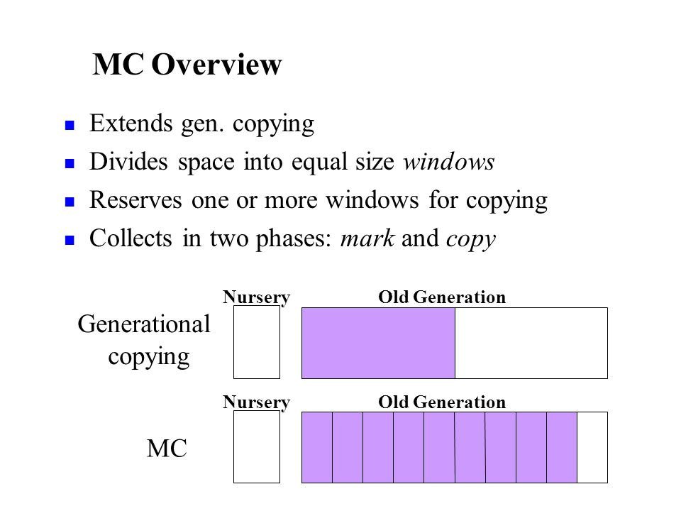 MC 2 – Copy Phase Copy and compact reachable data Performed in small increments One windowful of live data copied per increment One increment per nursery collection High-occupancy windows copied logically