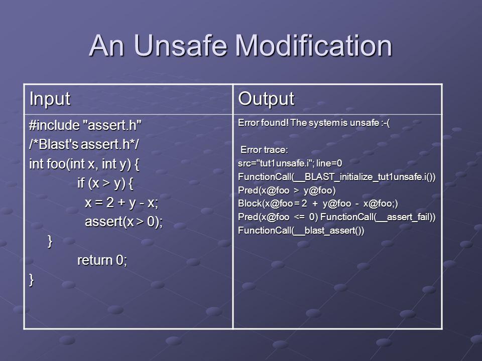 An Unsafe Modification InputOutput #include assert.h /*Blast s assert.h*/ int foo(int x, int y) { if (x > y) { x = 2 + y - x; x = 2 + y - x; assert(x > 0); assert(x > 0); } return 0; } Error found.