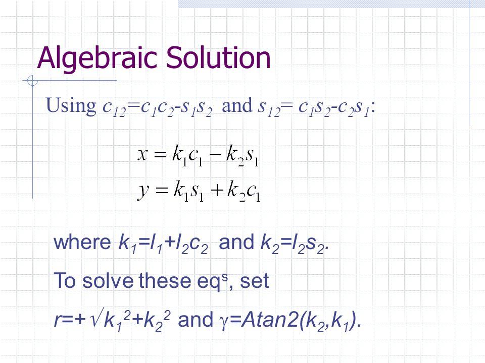 Using c 12 =c 1 c 2 -s 1 s 2 and s 12 = c 1 s 2 -c 2 s 1 : where k 1 =l 1 +l 2 c 2 and k 2 =l 2 s 2.