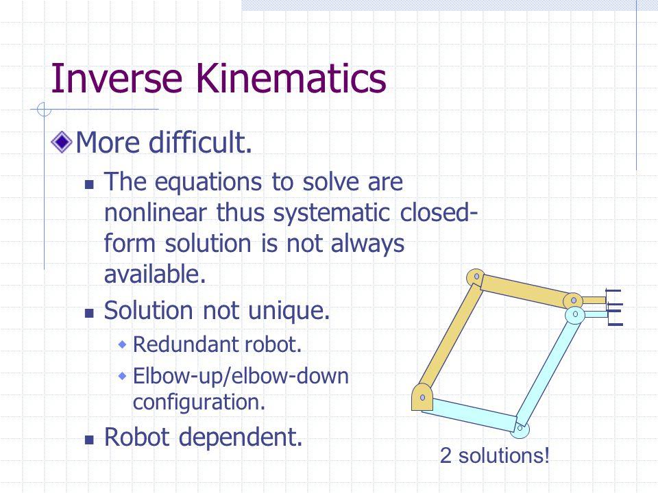 Inverse Kinematics More difficult.