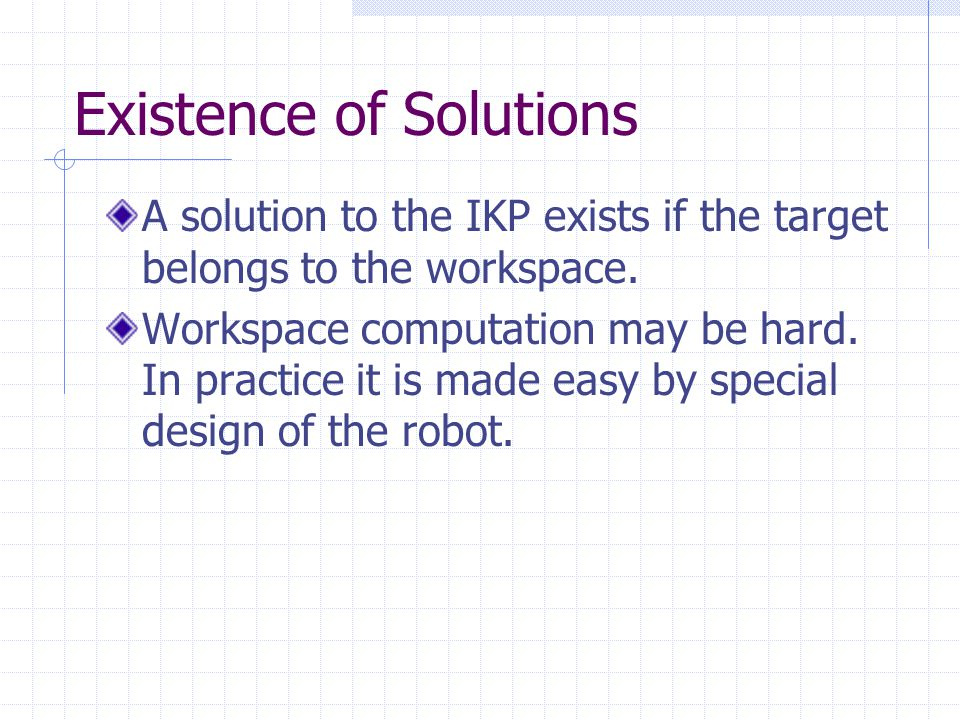 Existence of Solutions A solution to the IKP exists if the target belongs to the workspace.