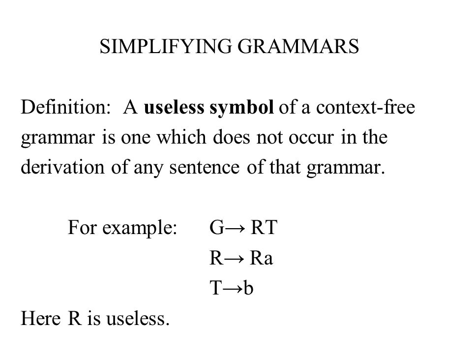 SIMPLIFYING GRAMMARS Definition: A useless symbol of a context-free grammar is one which does not occur in the derivation of any sentence of that grammar.