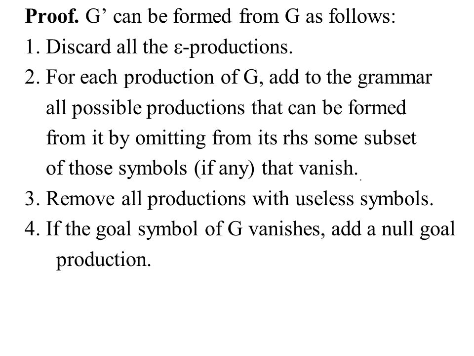 Proof. G' can be formed from G as follows: 1. Discard all the  -productions.