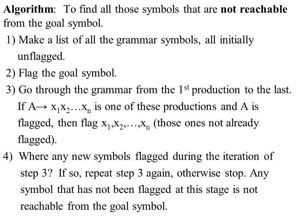 Algorithm: To find all those symbols that are not reachable from the goal symbol. 1) Make a list of all the grammar symbols, all initially unflagged.