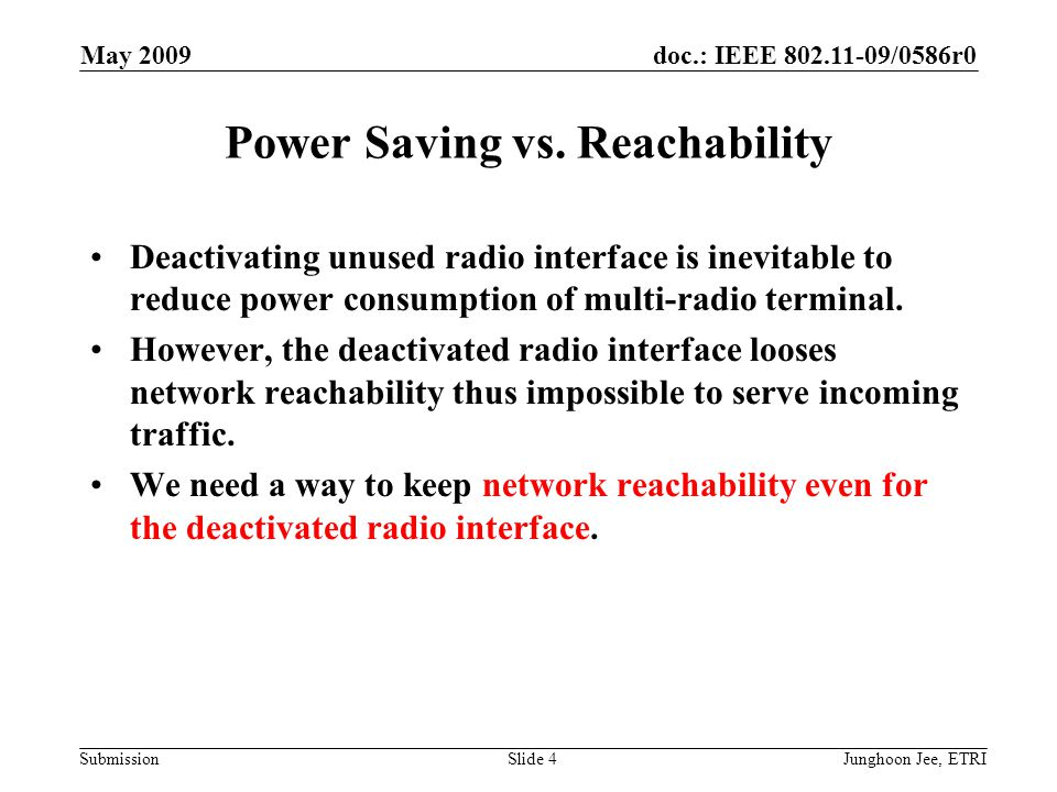 doc.: IEEE 802.11-09/0586r0 Submission May 2009 Junghoon Jee, ETRISlide 4 Power Saving vs.
