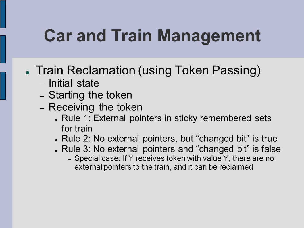 Car and Train Management Train Reclamation (using Token Passing)‏  Initial state  Starting the token  Receiving the token Rule 1: External pointers