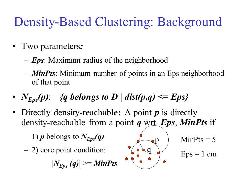 Density-Based Clustering: Background Density-reachable: –A point p is density-reachable from a point q wrt.