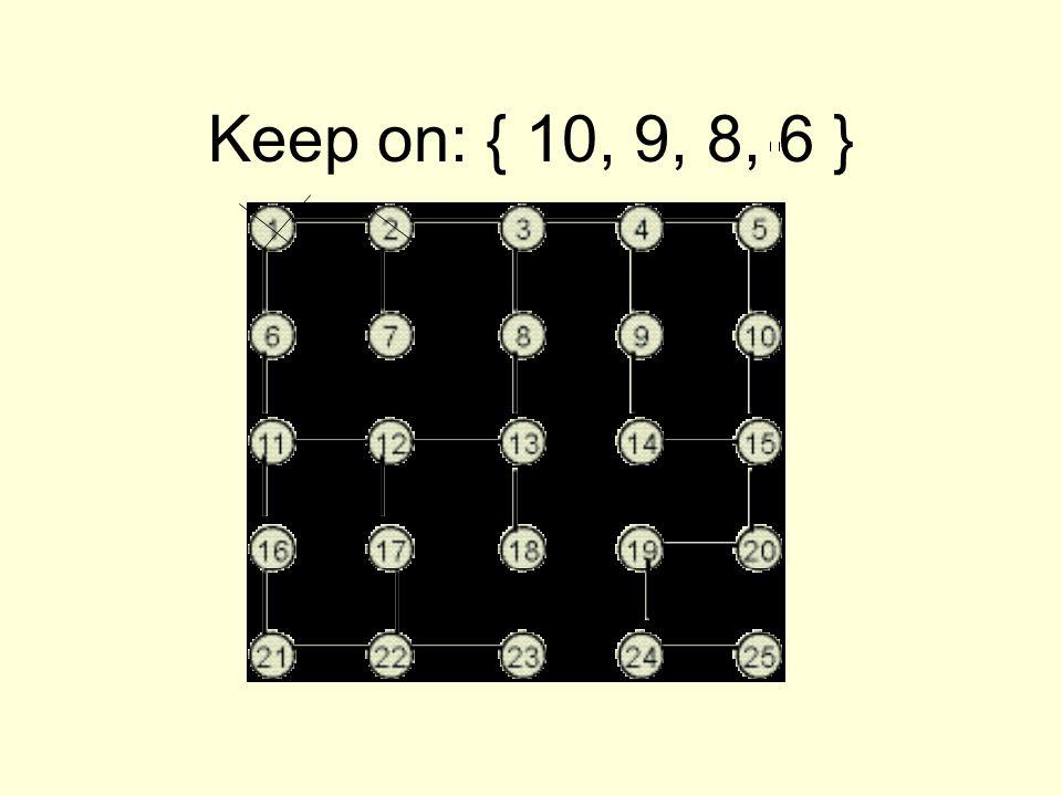 Keep on: { 10, 9, 8, 6 }