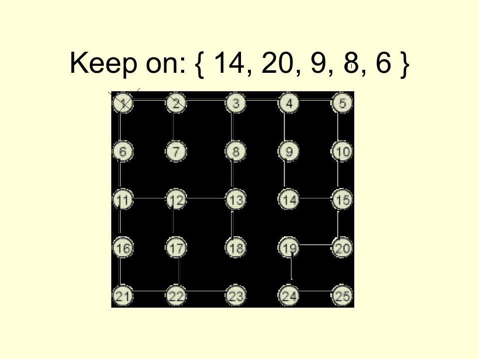 Keep on: { 14, 20, 9, 8, 6 }