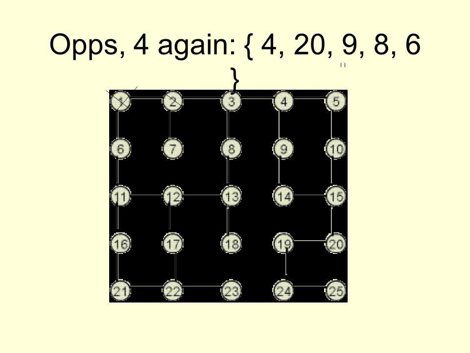 Opps, 4 again: { 4, 20, 9, 8, 6 }