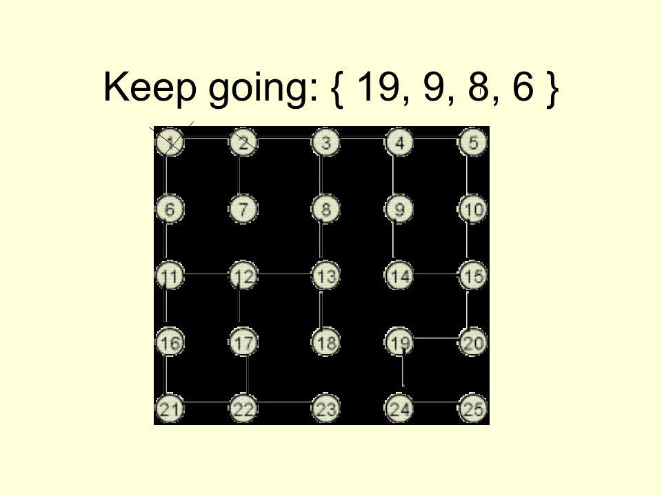 Keep going: { 19, 9, 8, 6 }