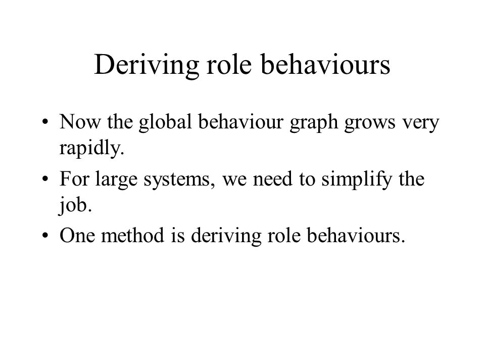 Deriving role behaviours Now the global behaviour graph grows very rapidly.